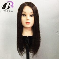 18 дюймов, 100% настоящие человеческие волосы, тренировочная голова с париком, кукла-манекен, голова для парикмахера, практики, прически, стриж...