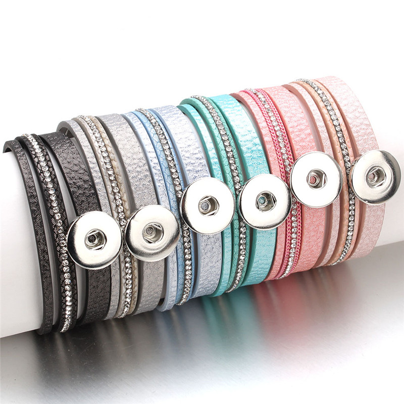 New Snap Button Jewelry Bracelet Wholesale Rhinestone Leather Magnetic Bracelets Fit 18mm 20mm Snap Buttons For Women ZE522
