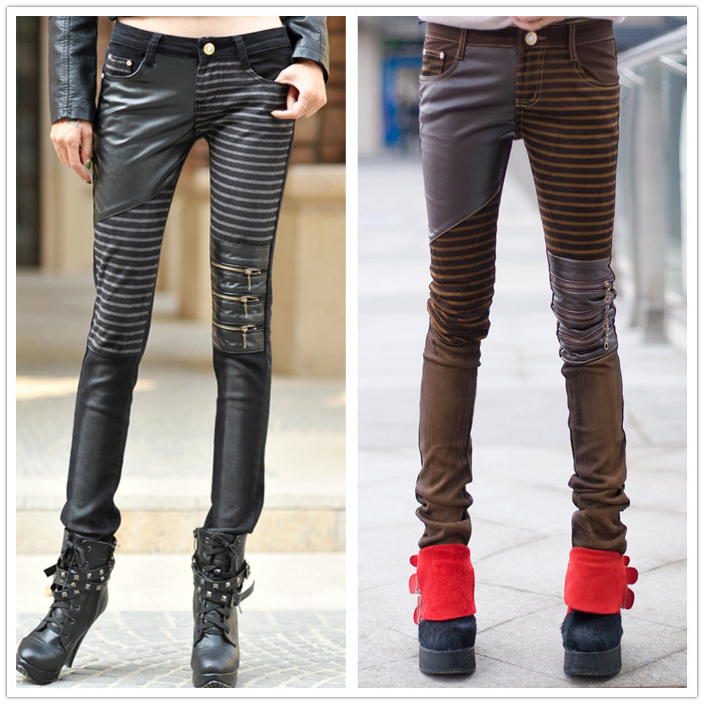 Spring Autumn Casual Pencil Pants zipper Denim Jeans Faux Leather stripe patchwork low-waist Panelled Womens slim skinny Pants american apparel patchwork women pencil jeans low waist imported skinny pants for women spring style brand clothing womens s2806