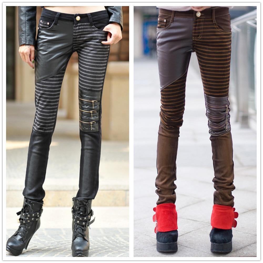 Spring Autumn Casual Pencil Pants zipper Denim Jeans Faux Leather stripe patchwork low-waist Panelled Womens slim skinny Pants denim zipper hollow worn stiletto womens sandals