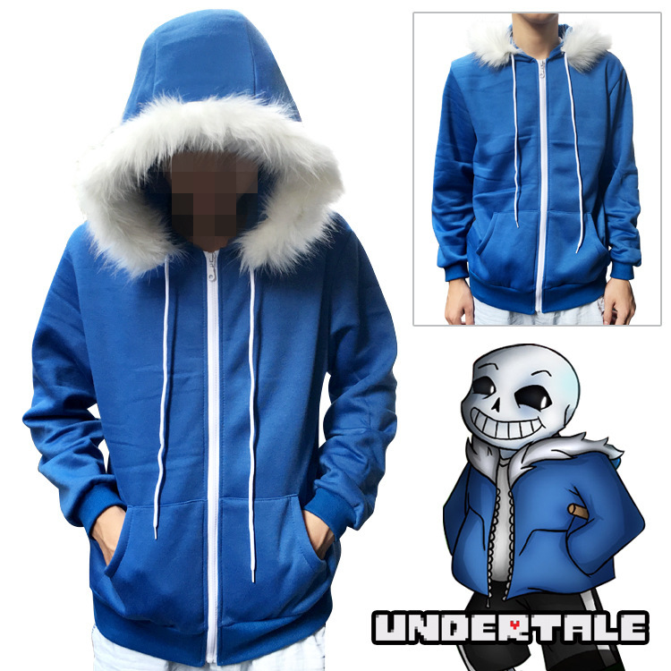 Undertale COOL SKELETON Sans Cosplay Hoodies Blue Coat Unisex Jacket Halloween Cosplay Costumes Hooded Sweater With White Nap
