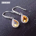 ZHHIRY Genuine Citrine Gem Earring Natural Yellow Creastly Stone Solid 925 Sterling Silver Earrings Women Fine Jewelry