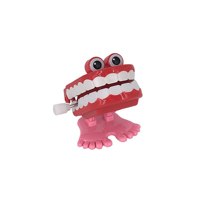 Playful Funny Novelty Kids Toys Wind Up Toys Gifts Vibrating Moving Chattering Gadget Wind Up Teeth with Eyes and Feet gadget
