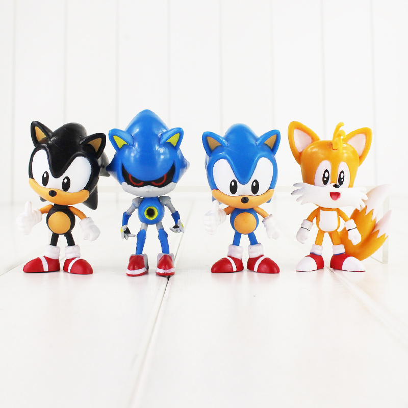 5set/lot Japan Anime Sonic The Hedgehog Sonic Tails Shadow PVC Figures Collectible Model Dolls Toys For Kids 4pcs/set 7-8cm
