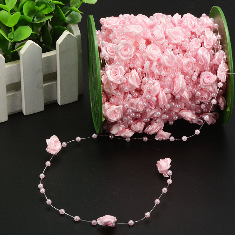 10M pearl beads chain rose flowers wedding party bouquet decorations DIY event ribbon festival ornaments rustic room table craft