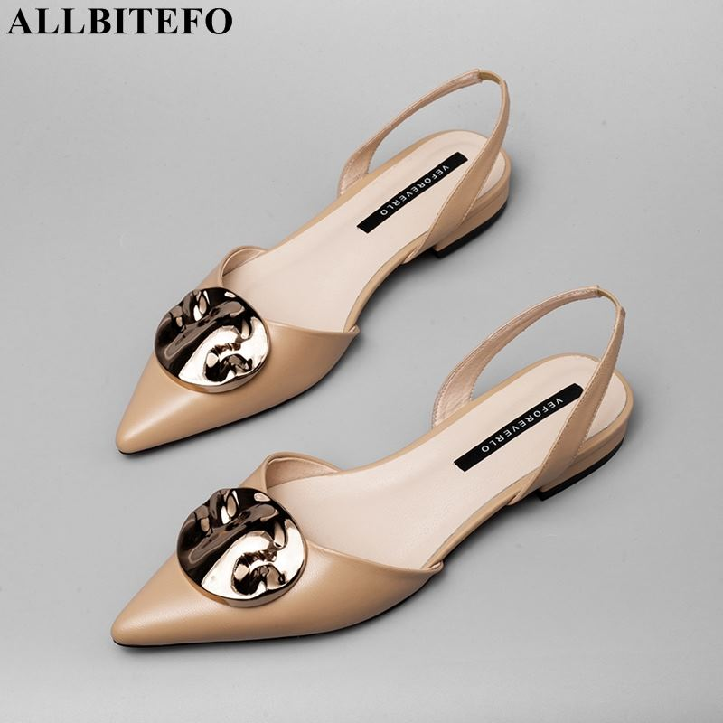 ALLBITEFO full genuine leather pointed toe low heeled comfortable women shoes high quality office ladies shoes