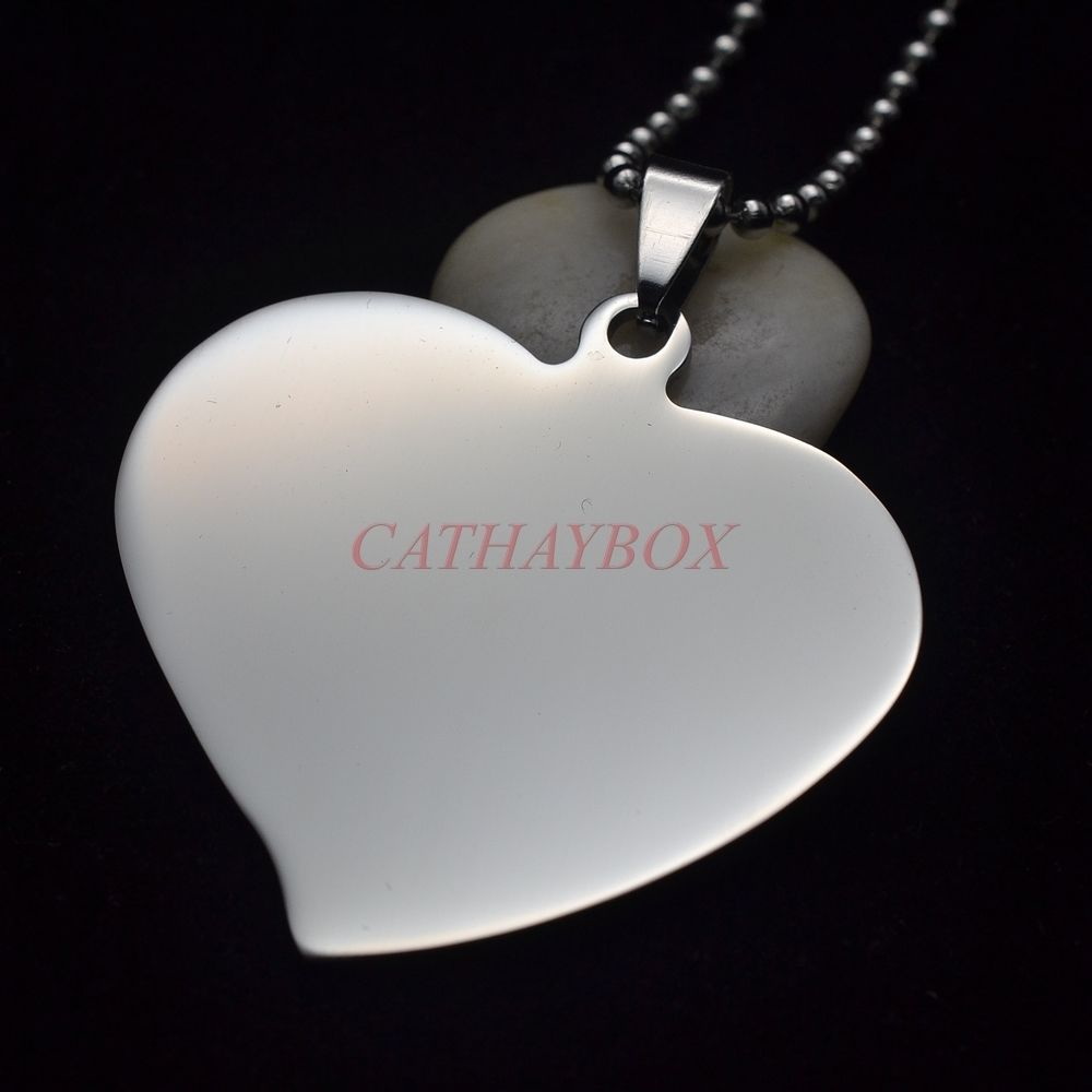 50PCS Lot Silver Tone High polished Stainless steel Flared Heart Blank Dog Tag Charm Pendant
