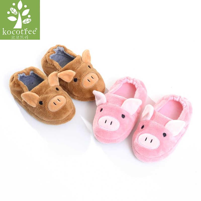Kocotree Winter Children Boys Girls Slippers Cute Cartoon Pig Kids Home Shoes Comfortable Warm Winter Cotton Shoes Home Slippers