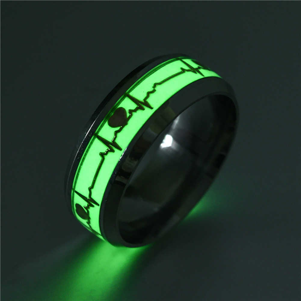 Glow in The Dark Heart Rate Stainless Steel Couple Finger Ring Engagement Wedding Ring Christmas Fashion Jewerly Women Men Gift