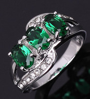 New Jewelry Fashion Size 7,8,9  Lady's AAA Green Emerald  Cz 18K White Gold Filled Engagement Ring Gift Free Shipping R014