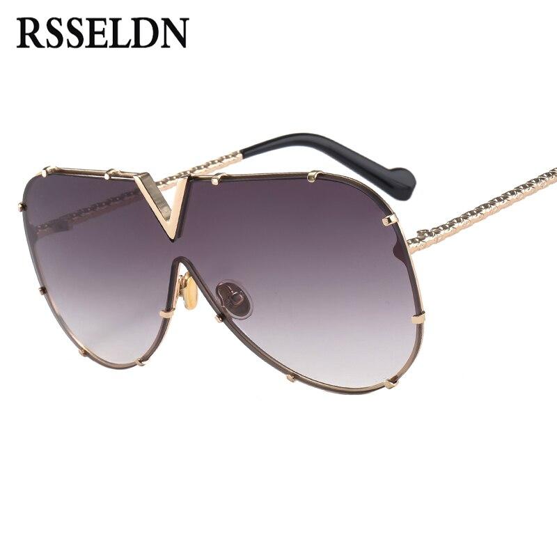 Rsseldn nueva 2018 una pieza Gafas de sol hombres marca diseñador alta calidad oversized Gafas de Sol para las mujeres gafas de sol de metal UV400 espejo