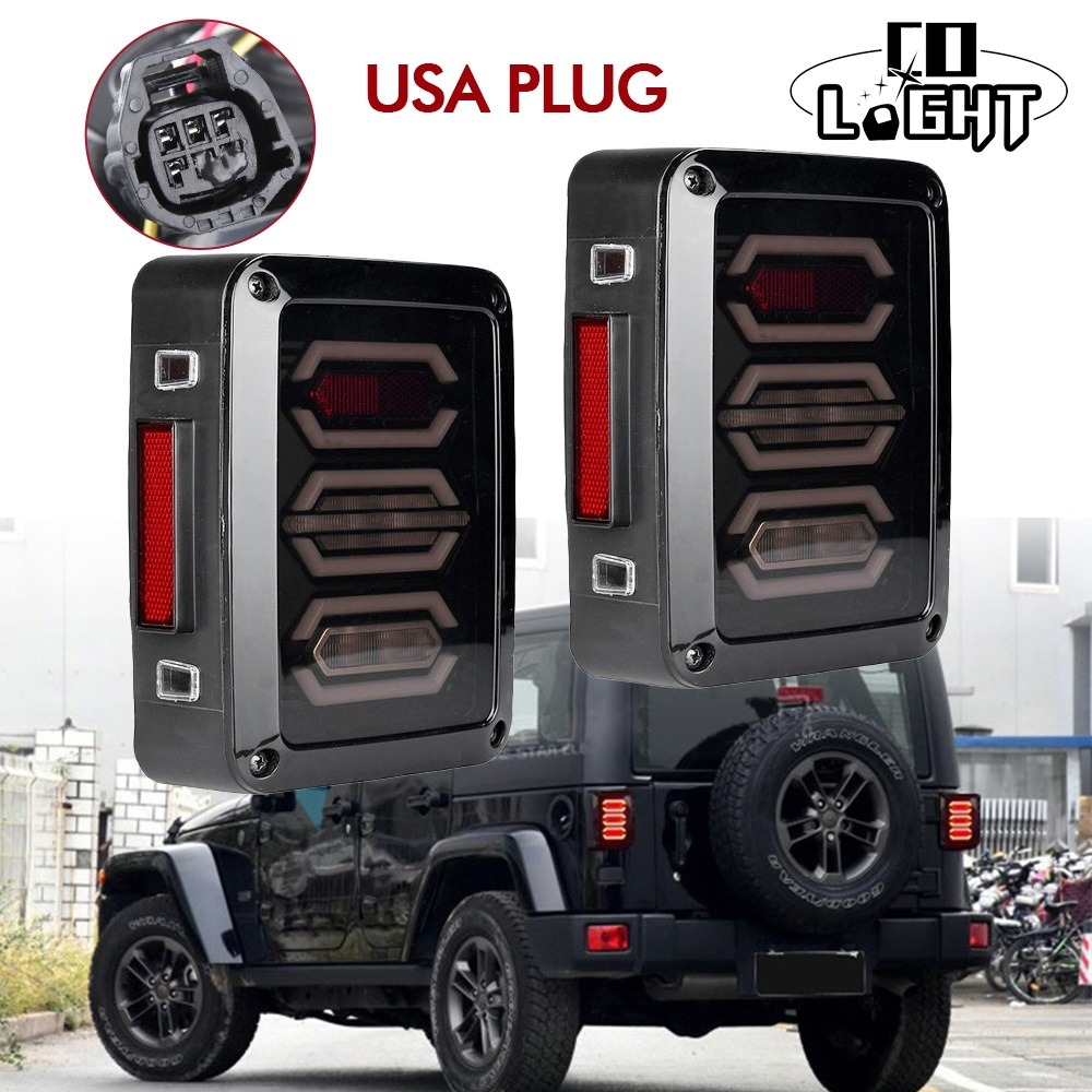 CO LIGHT USA Version LED Tail Lights 12V for Jeep Wrangler JK LED Rear Lights Turn Signal Reverse Parking Stop Brake Smoke Lamps for jeep wrangler jk 2007 2016 tail light diamond smoke led tail light