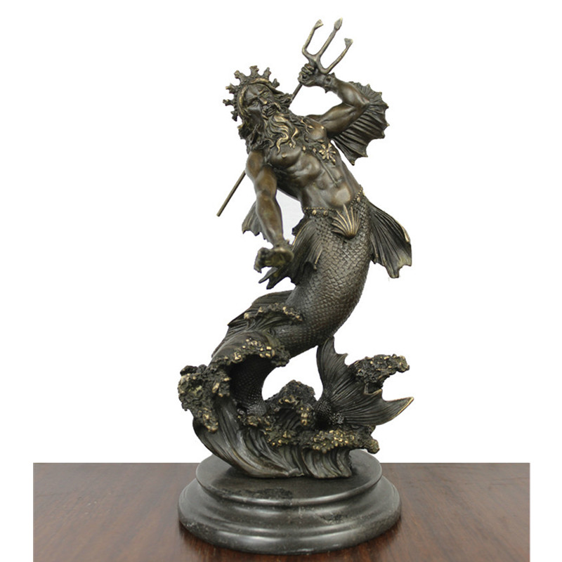 Us 239 99 30 Off 40cm Antique Poseidon Figurine Statue Art Sculpture Bronze Craftwork Home Decoration Accessories For Living Room R218 In Statues
