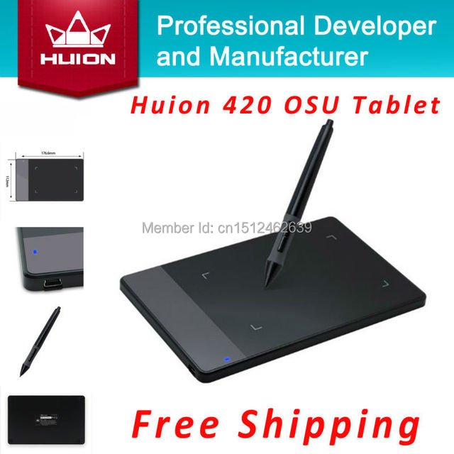 Hot Sale Huion 420 4-inch Digital Tablet Professional Signature Pen Tablet Graphics Drawing Tablet With MINI USB Black Brand New
