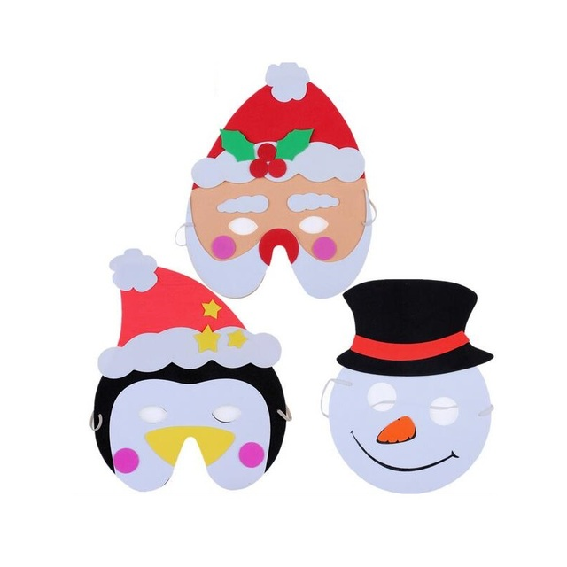 100pcs christmas theme eva masks santa claus snowman elk party masks for kids masquerade costumes cosplay - Santa Claus For Kids