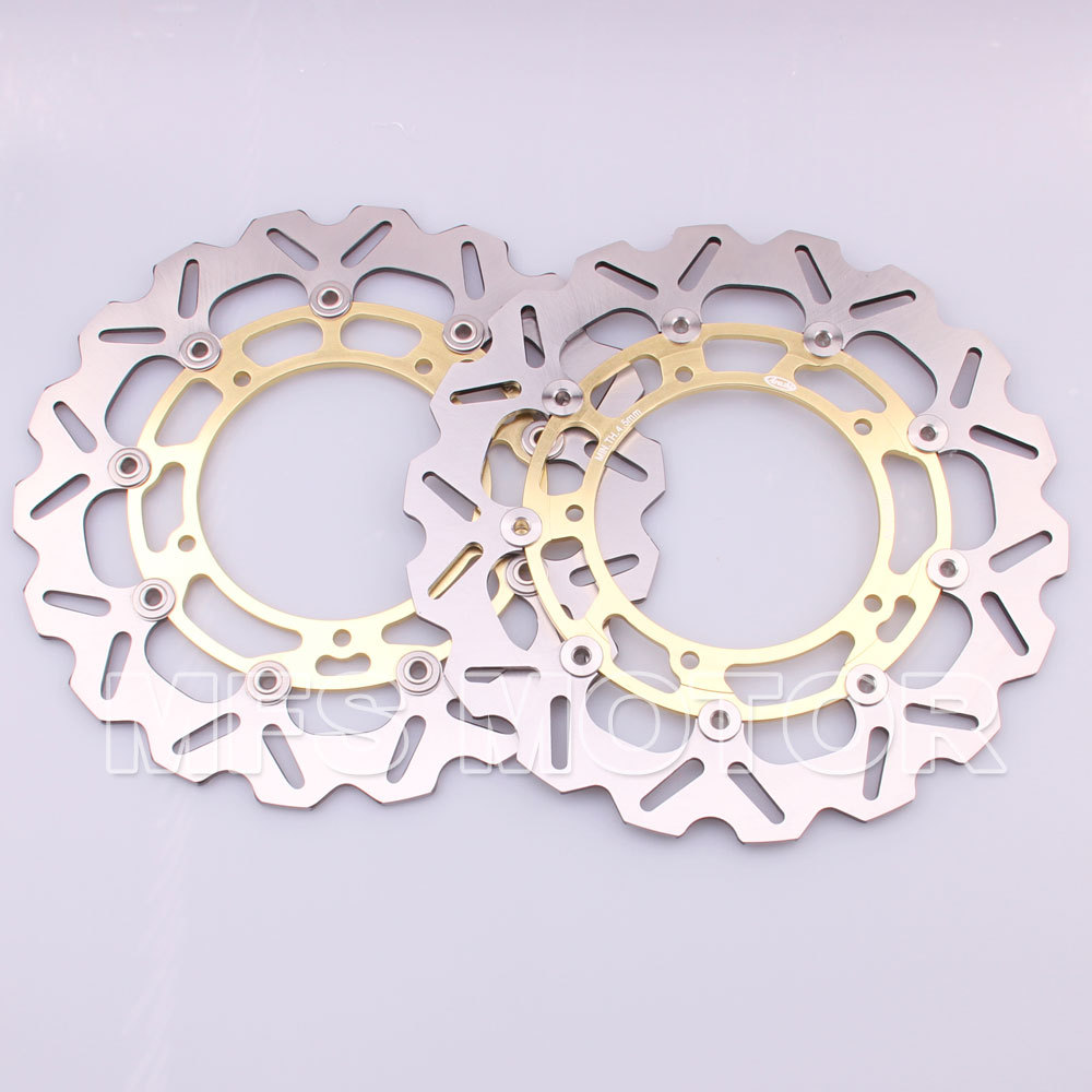 Front Brake Discs Rotor For Yamaha YZF R1 2007 2008 2009 2010 2011 2012 2013 YZF R6 2006 2007 2008 2009 2010 2011 2012 Gold abs chrome front grille around trim for ford s max smax 2007 2010 2011 2012