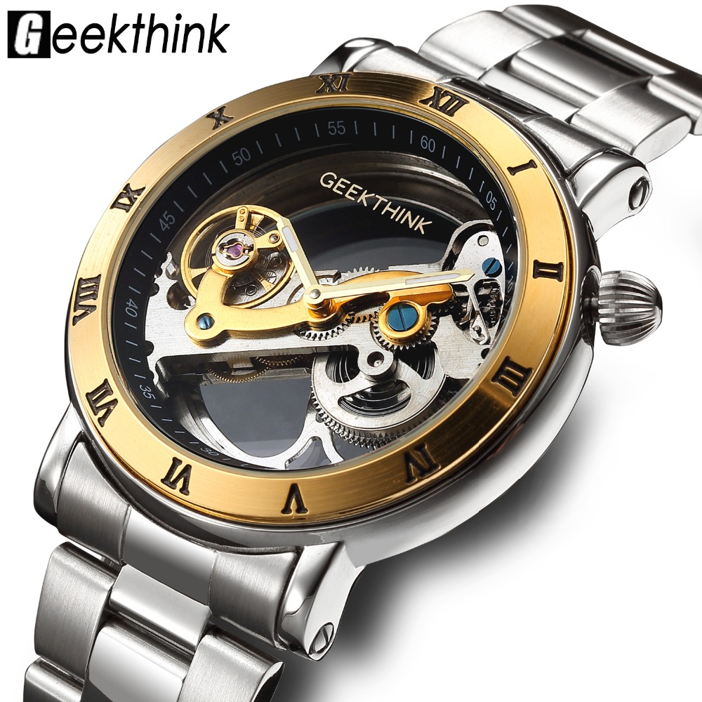 GEEKTHINK brand Skeleton Tourbillon automatic Mechanical Watch Men's luxury business men Wristwatch self wind Relojes Steampunk top luxury brand skeleton tourbillon automatic watch mechanical men s leather strap men wristwatch self wind relojes steampunk