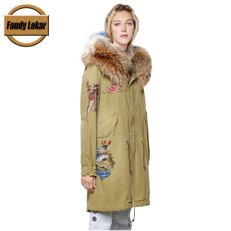 Appliques Warm Raccoon Fur Collar Coat Women Winter Real Fox Fur Liner Hooded Jacket Women Bomber Parka Female Ladies FP9110 printed long raccoon fur collar coat women winter real rabbit fur liner hooded jacket women bomber parka female ladies fp896