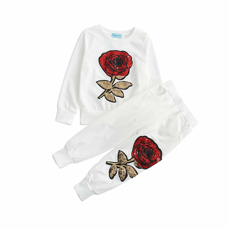 Girls Clothing Sets 2017 Spring Wool Sportswear Long Sleeve Rose Floral Embroidered Sequinsets Kids Clothing Sets