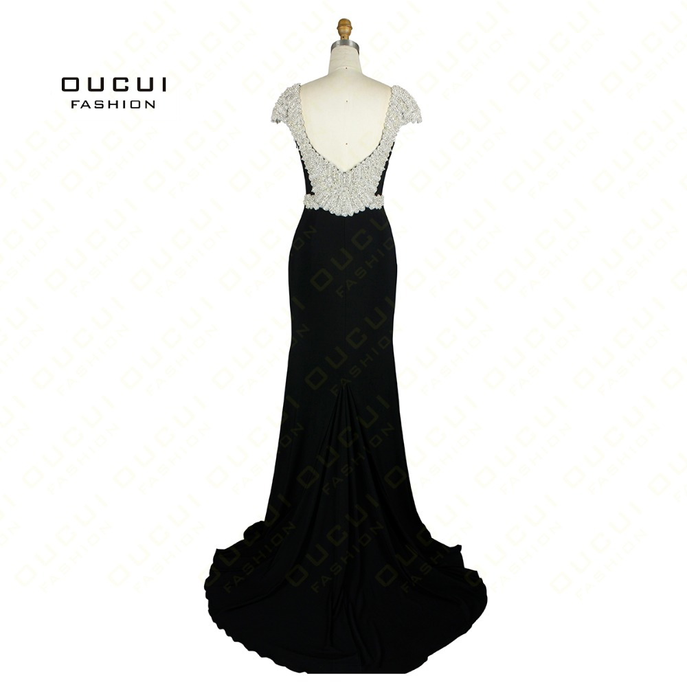 Jersey Fabric Sparkling Beading Handwork Sweetheart Mermaid Prom Dresses 2019 Formal Party Occasion With Stones OL102432