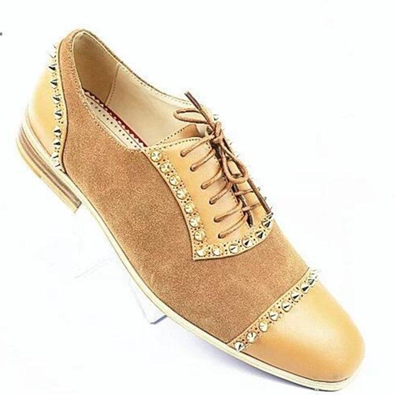 Sapatos Preto Luxo Lace Flats colorido Derby Mocassins Eu39 Casuais Embellished multi Homens Rivet cáqui De Mão eu46 À Qianruiti up Feitos Pico xUqptEPWw