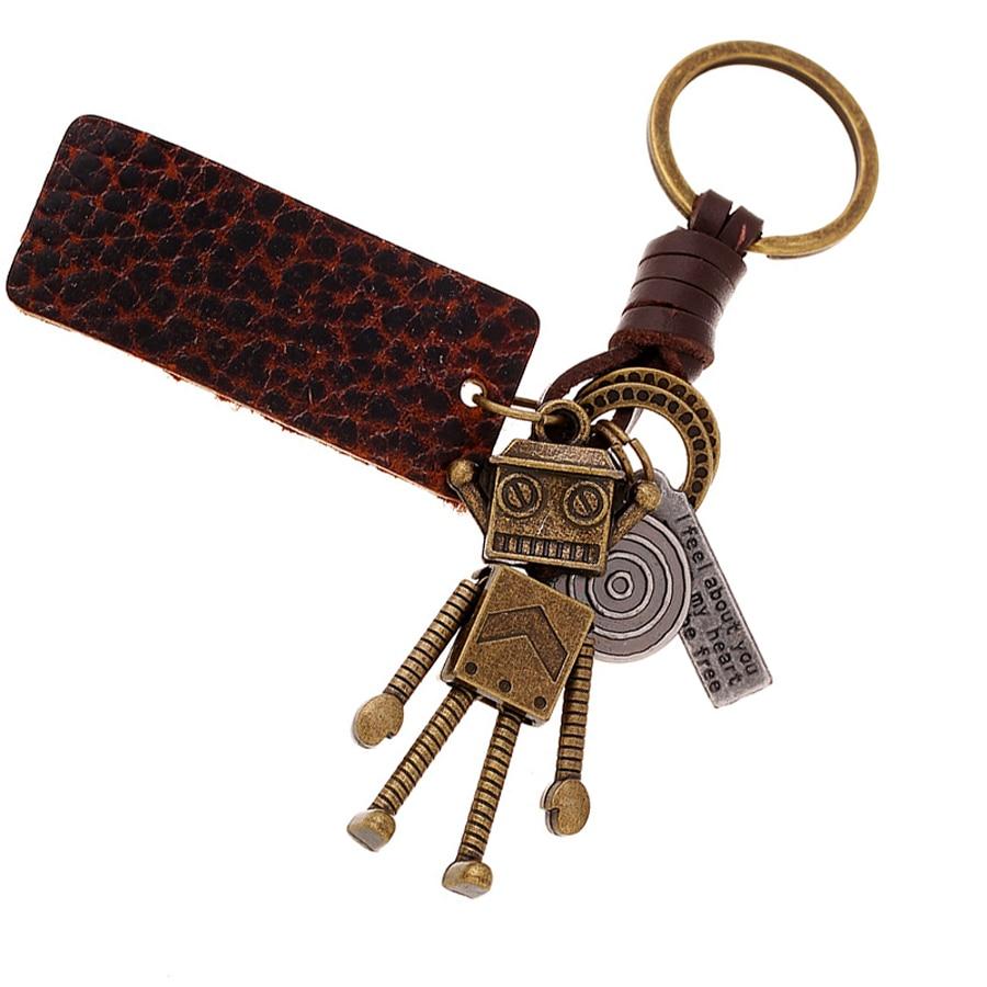 Novelty Genuine Leather Copper Alloy Robot Key Chain Ring Holder Vintage Car Keyring Charm Bag Pendant Keyfobs Gift FY057