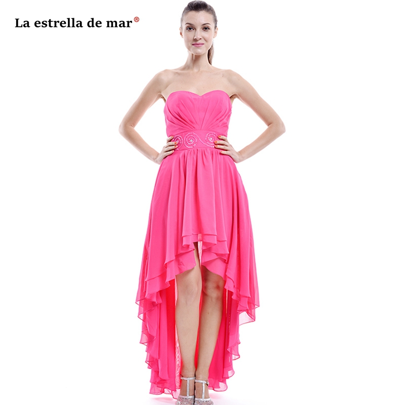 Vestidos de madrinha chiffon crystal sexy strapless rose red High Low   bridesmaid     dress   long robe rose demoiselle d'honneur