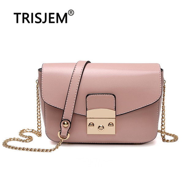 187003a6ba TRISJEM luxury design pink women messenger bags mini chain chic autumn crossbody  bag lock ladies hand bag green blue brown red