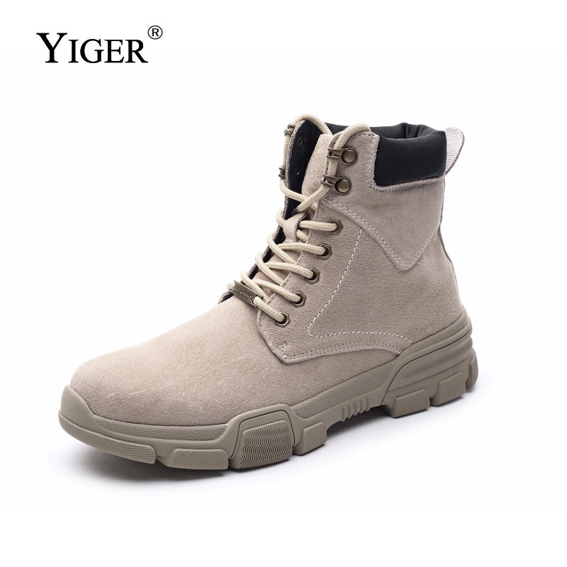 YIGER New Men Martins Boots Split Leather Large Size Men Military boots Winter Warm Lace up