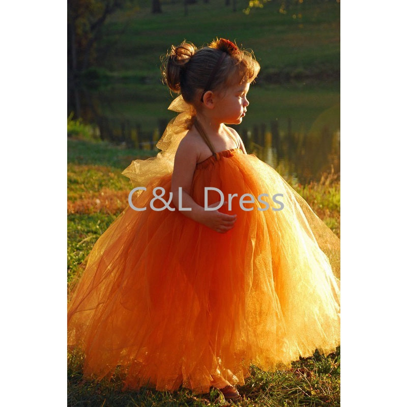 burnt orange tutu dress or tutuflower girl in many color for weddings