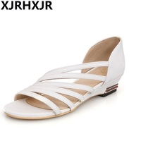 XJRHXJR New 33 43 Summer Sandalia Women Leather Low Wedges Sandals Women Casual Zapatos De Mujer