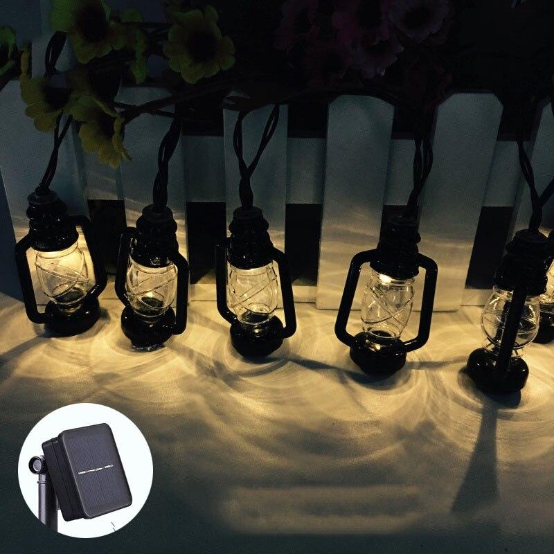 20 светодиодный 6 см фея черный керосиновая лампа Батарея работает огни строки 5 м светодиодный украшения для Рождественский венок Новый год ...