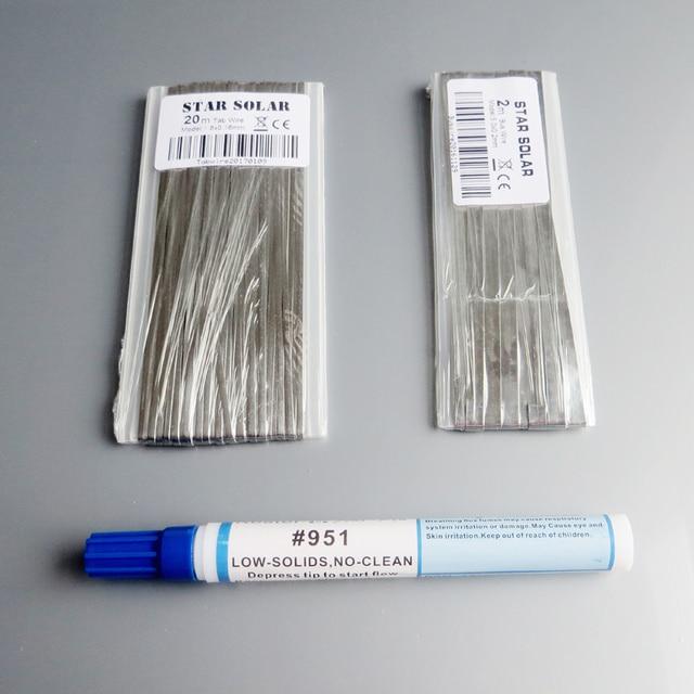 20M 탭 와이어 + 2M 버스 와이어 PV 리본 탭 와이어 + 1pc 951 10ml 솔더링 로진 플럭스 펜