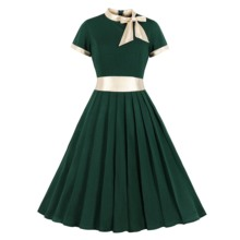ZOGAA Gold Patchwok Women Vintage Dress Bow Neck Green Pleated Short Sleeves Office Midi Party Wine High Waist