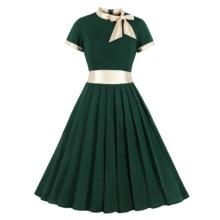 ZOGAA Gold Patchwok Women Vintage Dress Bow Neck Green Pleated Dress Short Sleeves Office Midi Dress Party Wine High Waist Dress