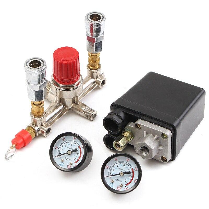 NEW Air Compressor Pressure Control Switch Valve Manifold Regulator W/Gauges Relief Auto Control Auto load/unload  9 25 9mm dia air compressor safety pressure relief valve new