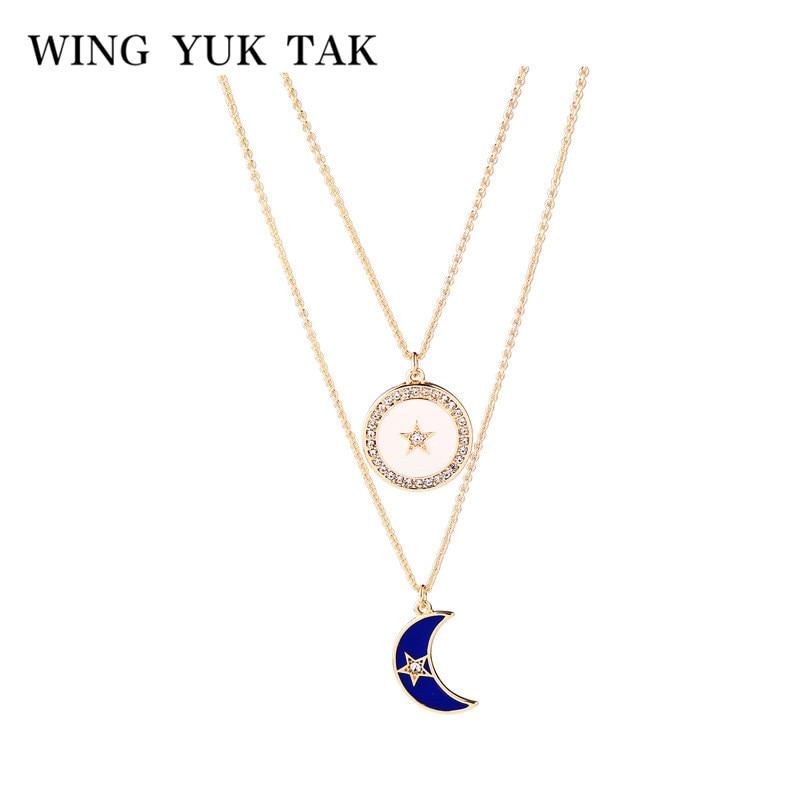2018 New Fashion Women Boho Moon Star Pendant Chain Choker Collar Party Necklace