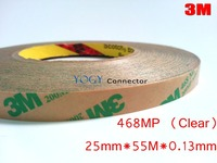 3M 468MP, 25mm*55M, 0.13mm Thick, 200MP Adhesive, 2 Faces Sticky Tape, for PCB, Rubber, Metal, Panel, LCD Display Bonding