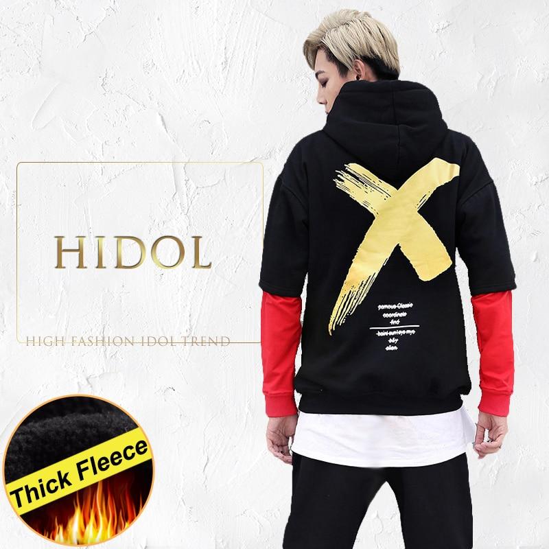 Thick Fleece Oversize False Two piece Hoodie Gold X Letter Print Harajuku Hip Hop Swag Hood Sweatshirt Men Brand Black Rap Kanye