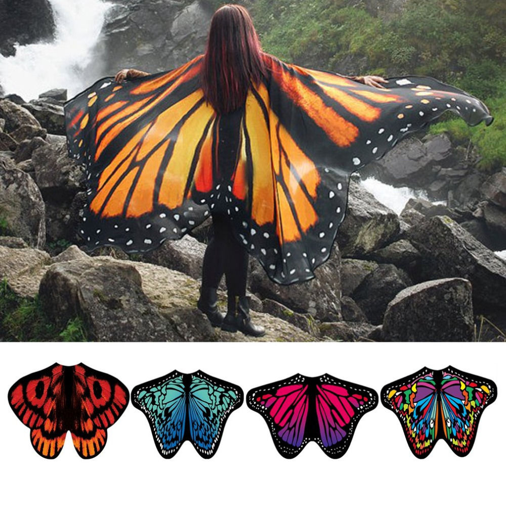 Women Beach   Scarf   Pashmina Butterfly Wing Cape   Scarves   Peacock Poncho Shawl   Wrap   Novelty Print Chiffon   Scarves   Summer Pashminas