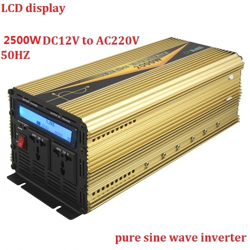 peak power 5000W inverter rated power 2500W LCD display dc12v to ac220v pure sine wave inverter for home application