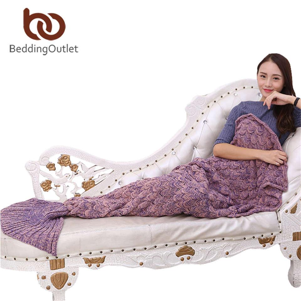 BeddingOutlet Filato A Mano A Maglia Mermaid Tail Coperta per I Bambini Adulti Lancio Bed Wrap Super Soft Crochet Coperta Calda 3 Formati