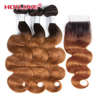 Hotlove Body Wave Ombre Hair Brazilian 3 Bundles with Closure 4*4 Lace Closure Non Remy Human Hair Extensions T1B/30 Brown Hair