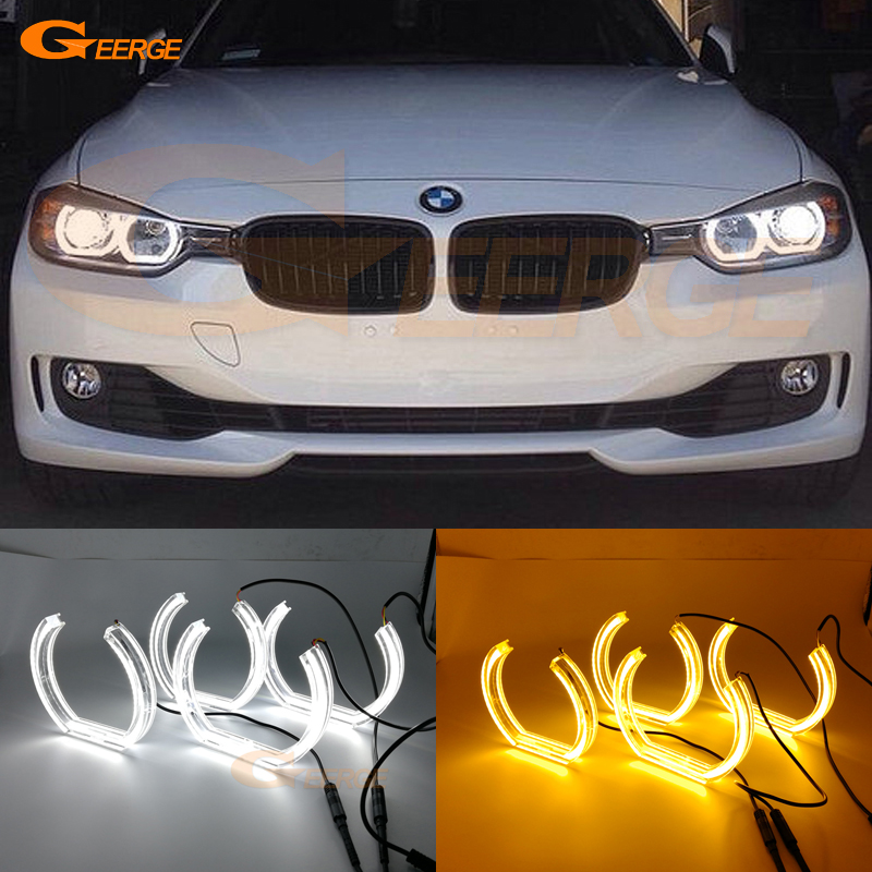 For BMW 3 Series F30 F31 F34 2012 2013 2014 2015 2016 halogen headlight DTM Style LED Angel Eye Kit Dual White Amber switchback велосипед mongoose switchback sport 2013