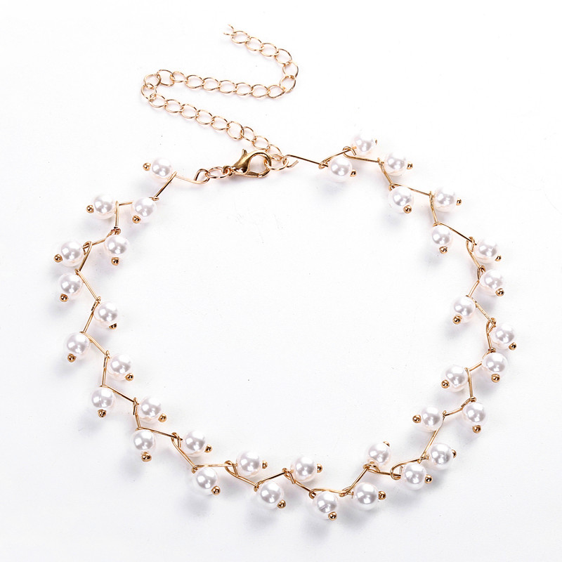 Trendy Elegance Statement Necklace Charm Simulated Pearl Bead Choker Necklace For Women Kolye Collier Femme 2018 New N972019