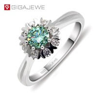 GIGAJEWE Moissanite Ring 0.4ct 5mm Round Cut Green Color 925 Silver Gold Multi layer Plated Fashion Love Token Girlfriend Gift