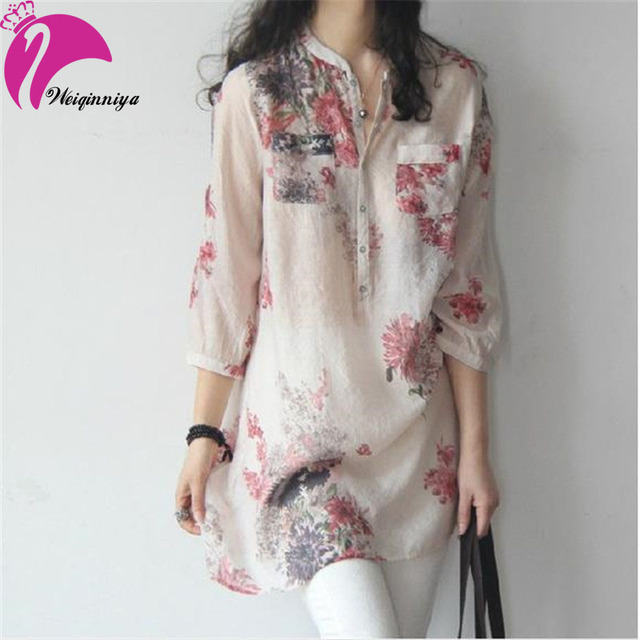 New Brand 2015 Summer Maternity Shirts Dresses Linen Cotton Loose Floral Shirts Tops For Pregnant Women Vestido Plus Size
