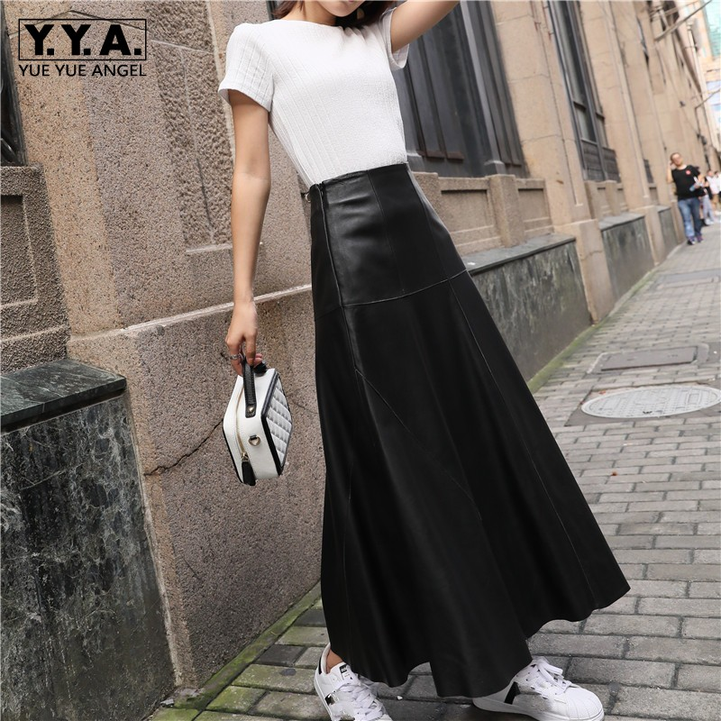 Autumn Winter Women Ankle Length Long Wide Flare Skirt High Waist Sheepskin Genuine Leather Skirts Harajuku Casual Maxi Skirt