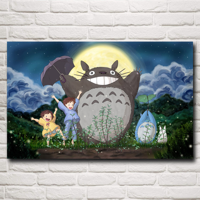 FOOCAME Hayao Miyazaki My Neighbor Totoro Anime Movie Art Silk Posters and Prints Home Decor Wall Pictures For Living Room