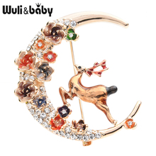 Wuli&baby Czech Rhinestone Flower Moon Deer Brooches Women Enamel Elk Animal Brooch Pins Christmas Gifts